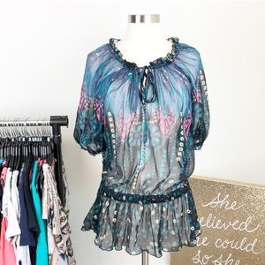 Angie peacock floral peasant tunic top